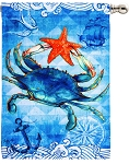 Blue Crab And Starfish House Flag
