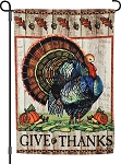 Give Thanks Turkey Garden Flag