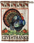 Give Thanks Turkey House Flag