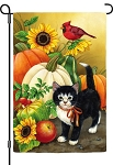 Gourds And Kitten Garden Flag