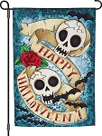 Happy Halloween Skulls Garden Flag