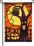 Haunted Night Burlap Garden Flag