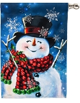 Joyful Jolly Snowman House Flag