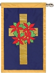 Poinsettia Wreath House Flag
