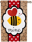 Valentine's Bee Mine Burlap House Flag