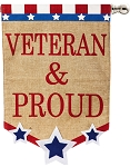 Veteran & Proud Burlap House Flag