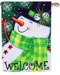 Welcome Snowman House Flag